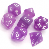 Purple & White Frosted Polyhedral 7 Dice Set